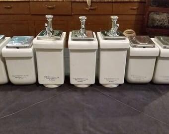Set of 7 Vintage Fischman Co Porcelain Art Deco Drug Store Soda Fountain Syrup Dispensers