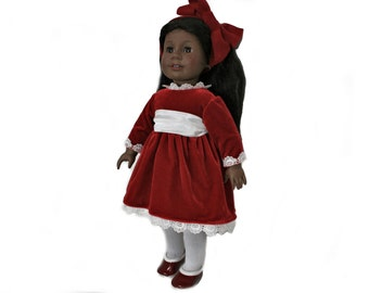 Red Velvet Holiday Dress, with Crinoline, Tights and Red Shoes for 18 Inch Dolls such as American Girl, Our Generation, Madam Alexander
