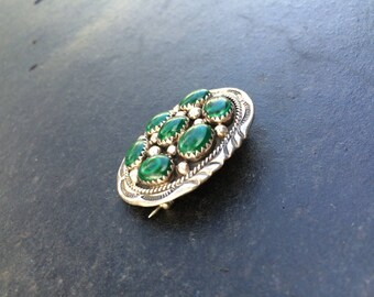 Sterling Silver Brooch with Malachite Stones