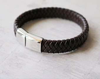 Men's Leather Bracelet - Choice of Colors - Personalized