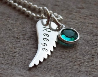 Angel Wing Hand Stamped Memorial Personalized Necklace