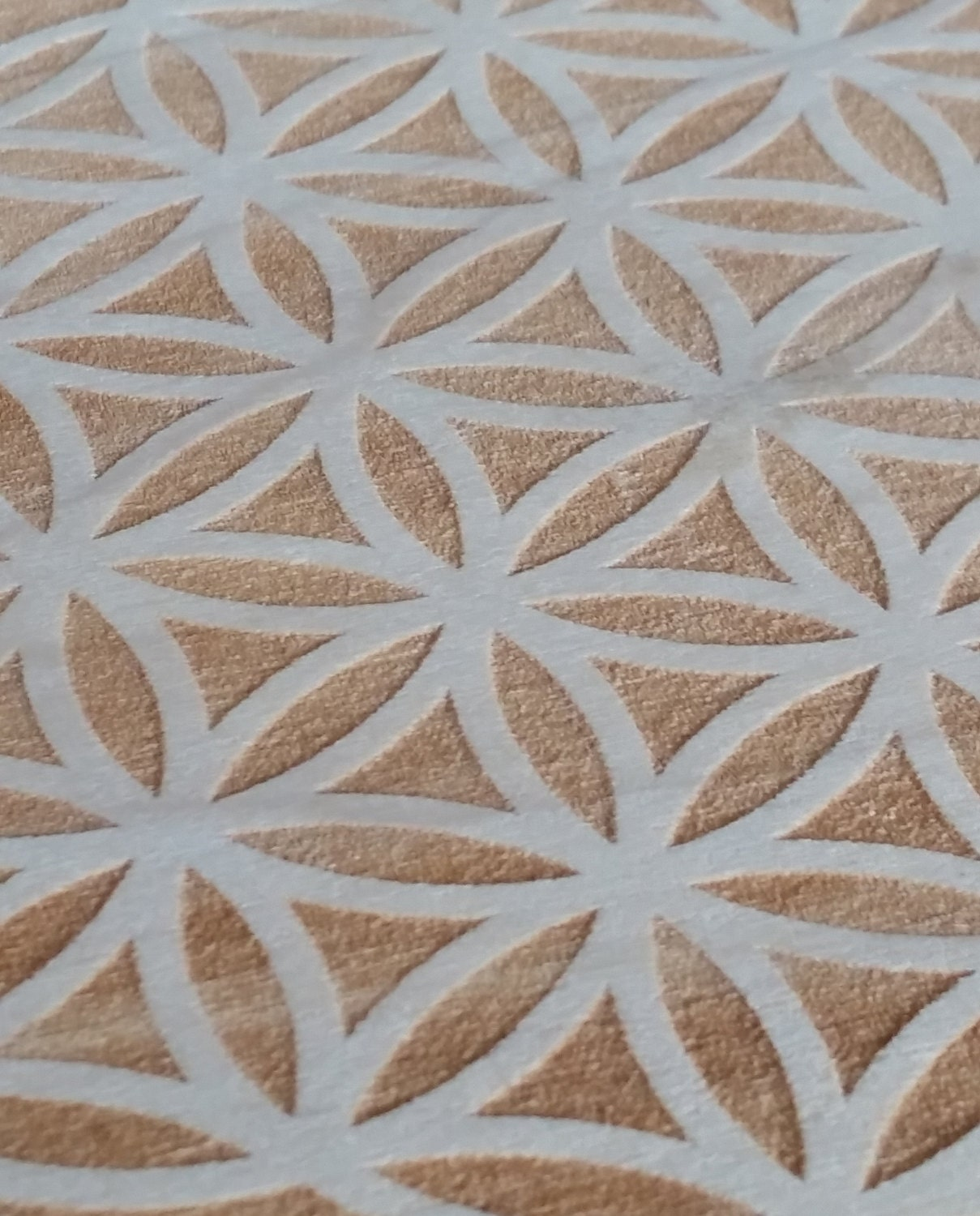 Flower of Life and Metatron's Cube, Sacred geometry grid, crystal grid, Two-Sided, 7 inch round, solid Poplar wood