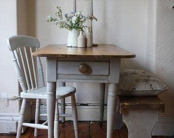 Lovely Rustic Vintage Pine Table on Castors with Single Drawer in Zinc Grey