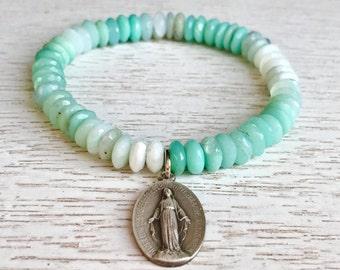 Peruvian Opal Beaded Vintage Medal Bracelet / Stretch BoHo Bracelet / Grace Collection Religious Bracelet