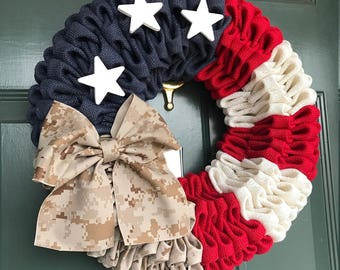 Folded burlap Military American Flag wreath