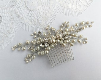 Pearl hair comb, wedding hair comb, wedding hair piece, rhinestone hair comb, bridal hair piece, silver hair comb, bridal hair comb