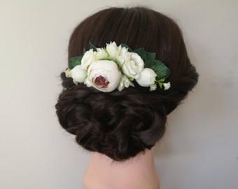 Ivory flower hair comb, flower wedding hair piece, rose wedding hair accessories, flower headpiece, bridesmaid hair comb, flower girl