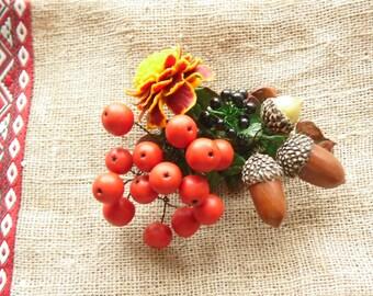 Brooch rowan acorns marigold autumn brooch polymer clay jewelry gift for her autumn pin fall jewelry autumn jewelry rowan pin woodland style