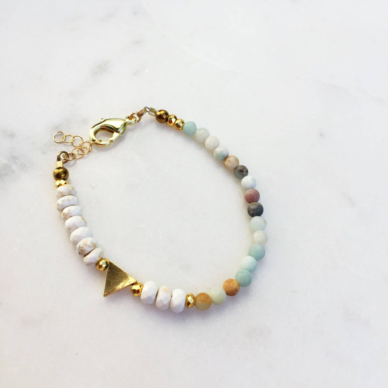 Amazonite Beaded Triangle Bracelet | Raw Gemstones | Beaded Bracelet |