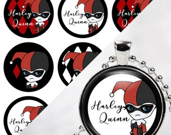INSTANT DOWNLOAD- Harley Quinn 4x6 Digital Printable 1 Inch Circle Bottle Cap Images