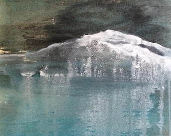 The glacier - Ink and acrylic on canvas. Original painting, abstract landscape, contemporary art.