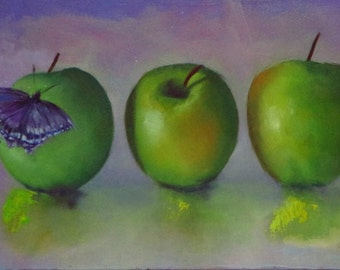 Original oil painting of apples and butterfly