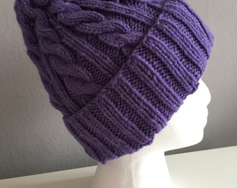 Purple Cable Knit Hat