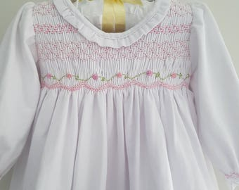 White Cotton Knit Hand Smocked Dress with Embroiderey