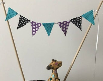 Birthday Cake Bunting Topper / Fabric Pennant Flags / Aqua, Purple and White Polka Dot, Black and White / Double Sided / Smash cake