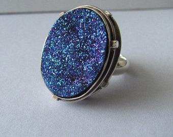 Blue titanium drusy adjustable ring
