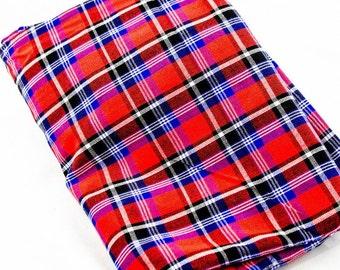 "Maasai red fabric/ Maasai shuka/Maasai blanket/Tanzania and Kenya blanket/living room throw/Dimension l 80"" W 60""/ madras plaid fabric"