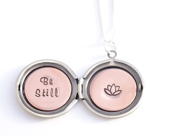 Be still and know - Personalized locket – Lotus necklace - Secret message - Silver locket – Locket necklace – Lotus flower necklace – Yoga