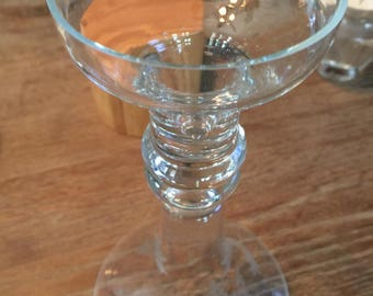 Set of 2 Etched Crystal Taper Candle Holders ~ Circa 1970's