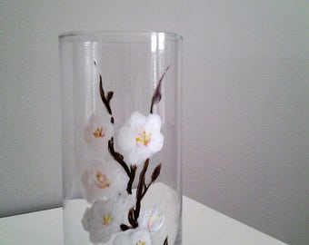 Hand Painted Dogwood Vase/Candle Holder