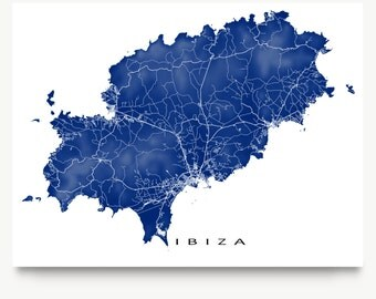 Ibiza Map Art, Ibiza Spain, Europe Map Prints