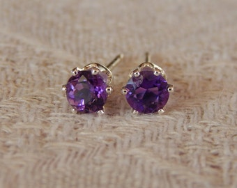 Amethyst 5mm Studs, Amethyst Stud Earrings, African Amethyst Sterling Silver Earrings, Amethyst Post Earrings, February Birthstone, Amethyst