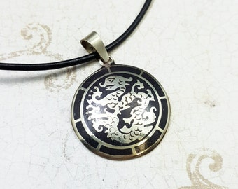 Dragon necklace. Enameled Dragon medallion. Dragon pendant. Tibetan Dragon pendant. Asian Dragon. Dragon jewelry. Mens necklace.