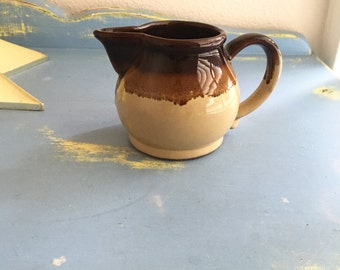 Vintage Pottery Creamer / Brown Drip Pottery / Small Pitcher / Made in Japan