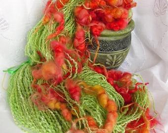 Art yarn Handspun yarn Knitting yarn  Chunky Hand dyed yarn Wool silk viskose yarn Handmade yarn Green orange  Lockspun OOAK yarn