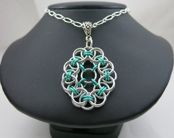 Chainmaille necklace, helm chain weave, helm weave focal, chainmaille