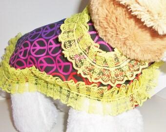 X-Small Dog Rainbow Peace Sign With Lace Jacket/Costume Dog Costumes, Dog Jackets, Dog Clothing