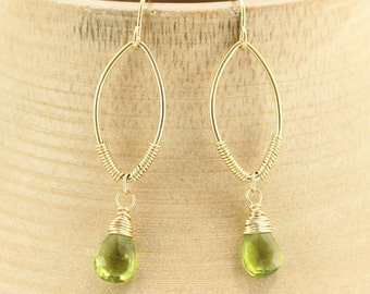 Gold Earrings, Peridot Earrings, Gemstone Earrings, Green Earrings, Gold Hoop Earrings, Dangle Earrings, Minimalist Earrings, Simple Earring