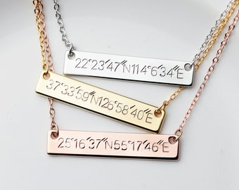 Wedding Date necklace Sister Coordinates gift aunt best friend new mom gifts Unique Gift - 4N