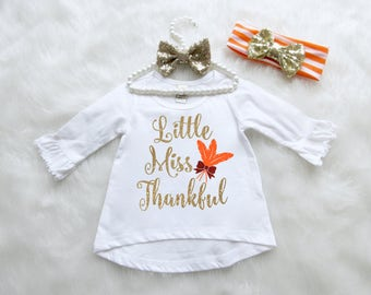 Little Miss Thankful Girls Shirt. Baby, Toddler, Girls Sizes Thanksgiving Shirt. Hi-Lo Thanksgiving Shirt. Thanksgiving Baby Shirt.