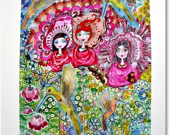 Three girls in the garden with hummingbirds - fine art print DIN A4, limited handsignierter farbenprächtiger pressure