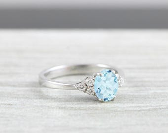 Aquamarine and Diamond oval engagement ring in white/rose/yellow gold for her handmade ring UK