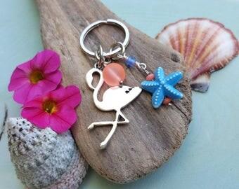 Flamingo Keychain - Flamingo Purse Accent - Tropical - Flamingo Accessory - Beach - Coastal Gifts - Vacation Ready - Starfish - Summer Style