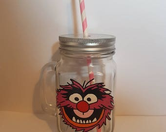 Hand painted Animal drinking jar.