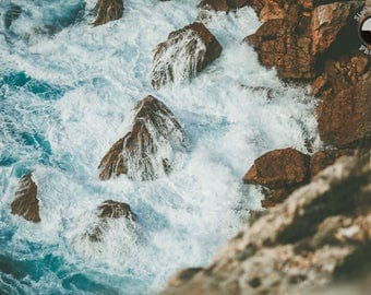 Blue Teal Turquoise Waves Crushing Print, Travel Photography, Marine Landscape,