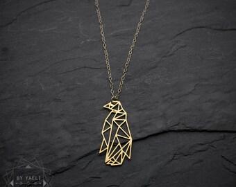 Penguin necklace, origammi penguin necklace, geometric penguin necklace, winter necklace, penguin jewelry, animal necklace.