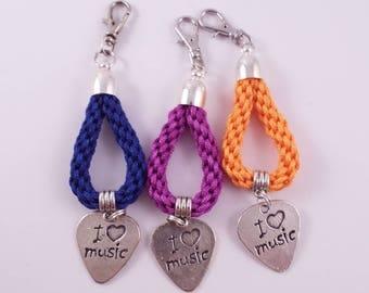 Music Lover  (Hand Braided Kumihimo Keychain/Bag Charm w/ Plectrum Charm)