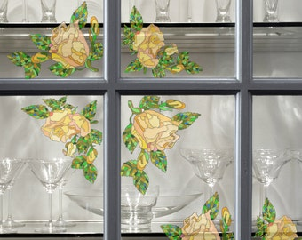 Reusable Window Decals with Stained Glass Effect, Static Window Clings, 5-Set, Yellow Roses, Stickers for Glass and Mirrors, Window Film