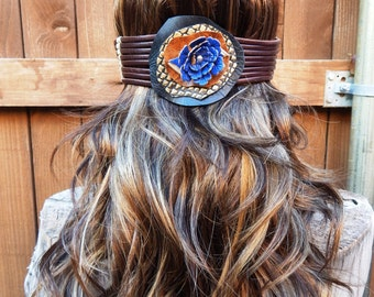 Unique handmade leather headband or hatband with brown and beige braid and blue chrysanthemum  flower, something blue