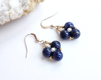 """Lapis lazuli Earrings Gold Dangle Earrings Lapis Lazuli Gift for Her Birthday Gift Gift Ideas Lapis lazuli """"FLORE"""" BO 0385"""