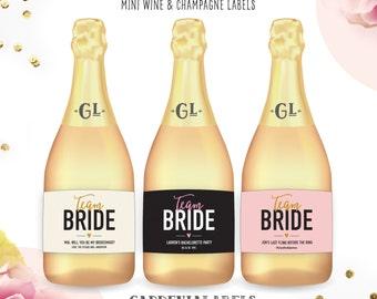 Mini TEAM BRIDE Bachelorette Label, Bridesmaid Mini Champagne Label, Bridal Shower Favor. Wedding Day Champagne, Lingerie Shower Label