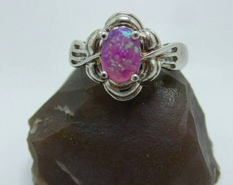 SALE Pink Fire Opal Sterling Silver ring, size 7.
