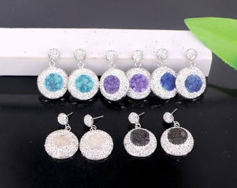 5Pair Pave White Rhinestone Mixed Color Quartz Stone Round Shape Charms Earrings Jewelry Finding