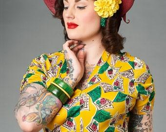 Yellow Double Zinnia Pin Up Hair Flower