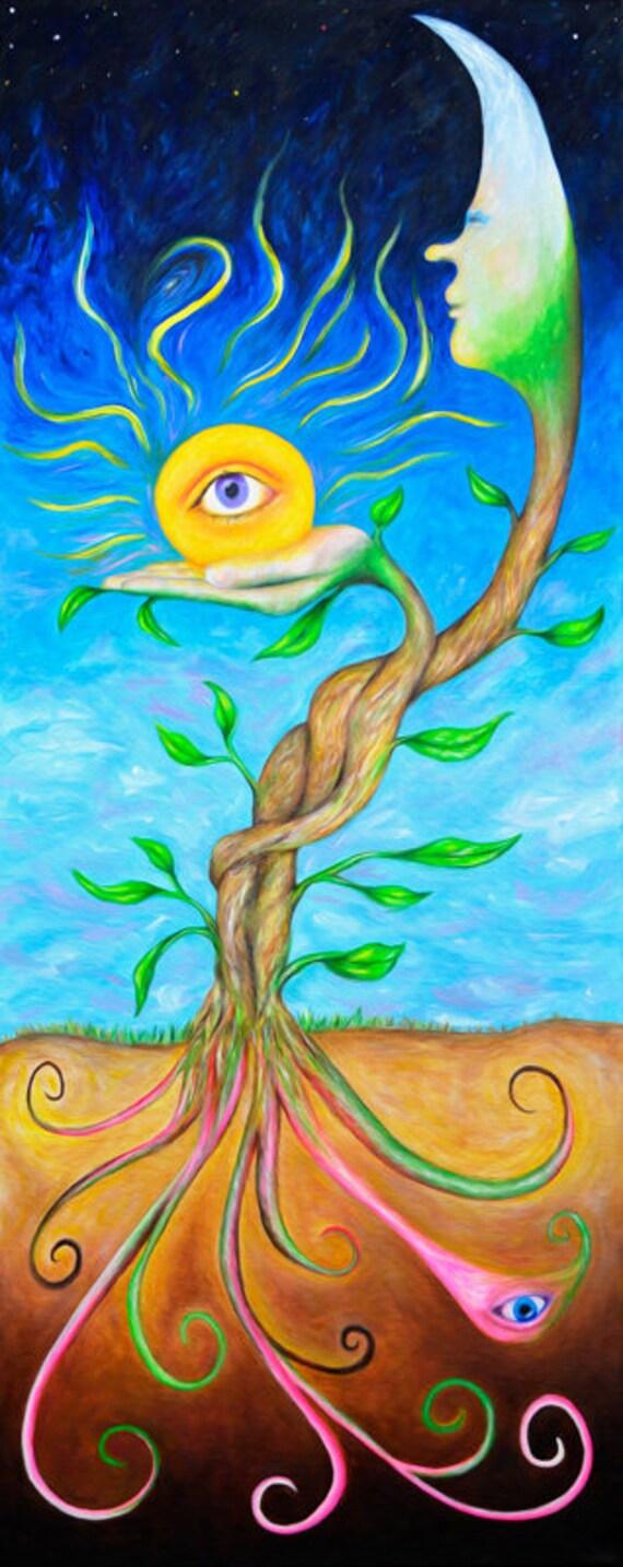 Sun and Moon Visionary Art. Surreal Art. Psychedelic Poster. Surrealism Wall Art. Psychedelic Art Print. Sun Moon and Stars Artwork.
