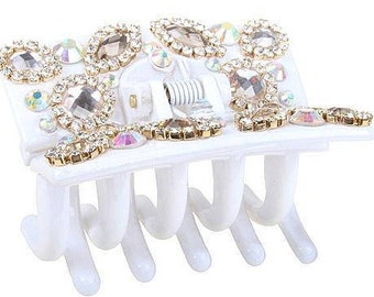 New Gorgeous White With Iridescent  Crystal 3' Hair Claw Clip